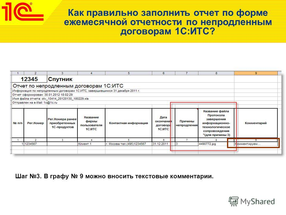 Как правильно заполнить отчет по форме ежемесячной отчетности по непродленным договорам 1С:ИТС? Шаг 3. В графу 9 можно вносить текстовые комментарии.