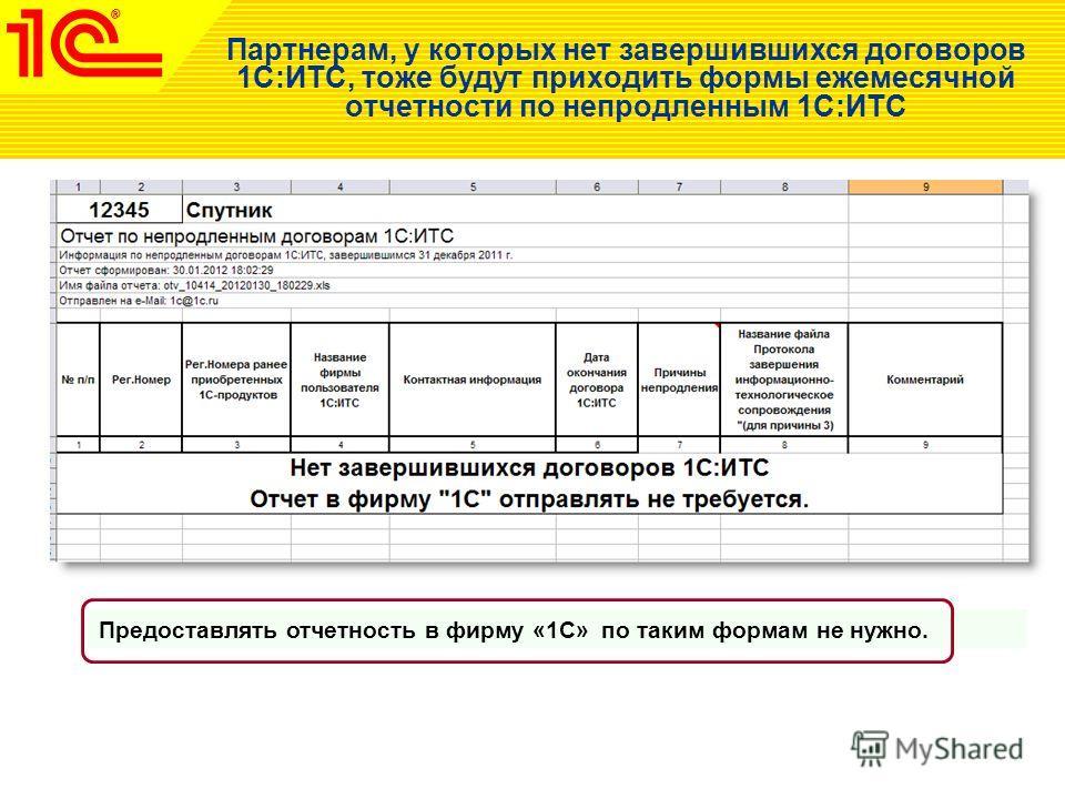 Партнерам, у которых нет завершившихся договоров 1С:ИТС, тоже будут приходить формы ежемесячной отчетности по непродленным 1С:ИТС Предоставлять отчетность в фирму «1С» по таким формам не нужно.