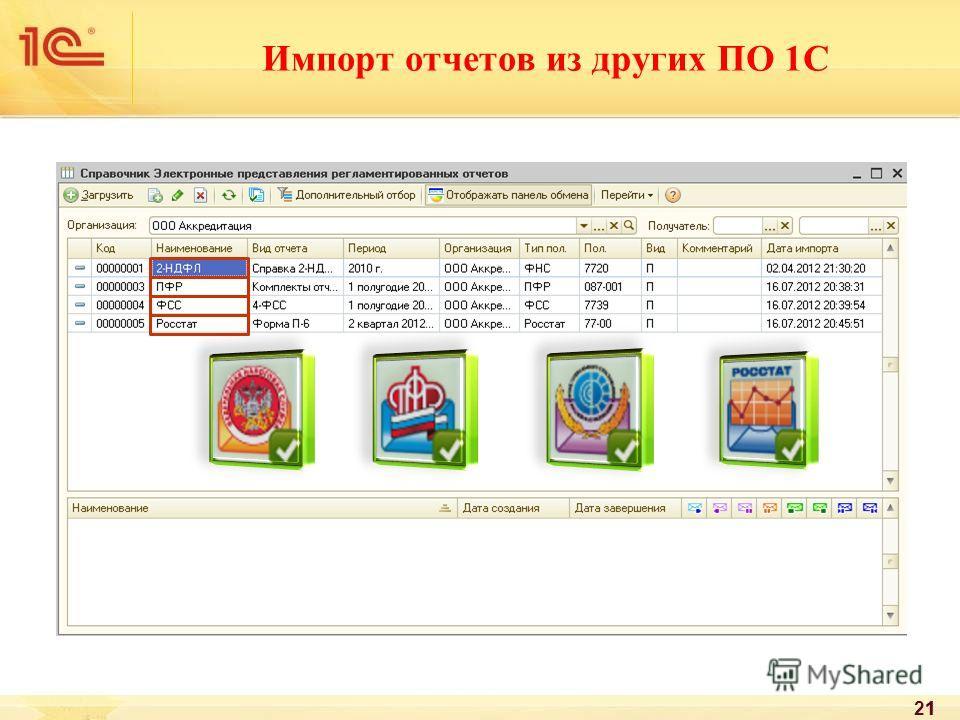 Импорт отчетов из других ПО 1С 21