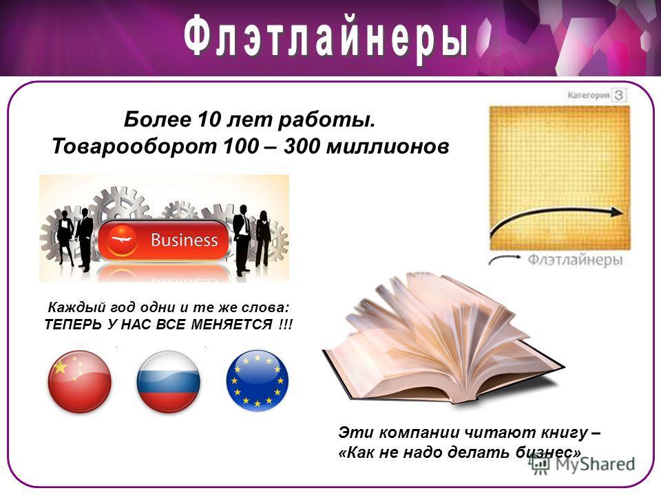 Более 10 лет работы. Товарооборот 100 – 300 миллионов Каждый год одни и те же слова: ТЕПЕРЬ У НАС ВСЕ МЕНЯЕТСЯ !!! Эти компании читают книгу – «Как не надо делать бизнес»
