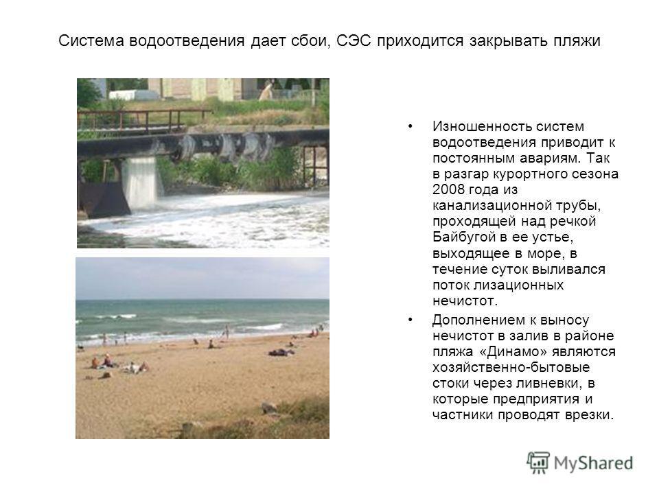 Система водоотведения дает сбои, СЭС приходится закрывать пляжи Изношенность систем водоотведения приводит к постоянным авариям. Так в разгар курортного сезона 2008 года из канализационной трубы, проходящей над речкой Байбугой в ее устье, выходящее в