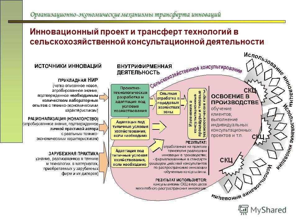 Организационно-экономические механизмы трансферта инноваций Инновационный проект и трансферт технологий в сельскохозяйственной консультационной деятельности