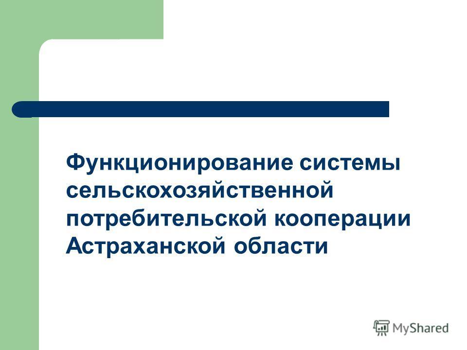 Функционирование системы сельскохозяйственной потребительской кооперации Астраханской области