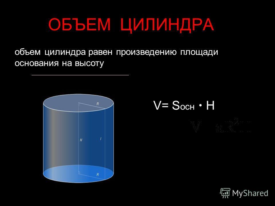 ОБЪЕМ ЦИЛИНДРА объем цилиндра равен произведению площади основания на высоту V= S осн H