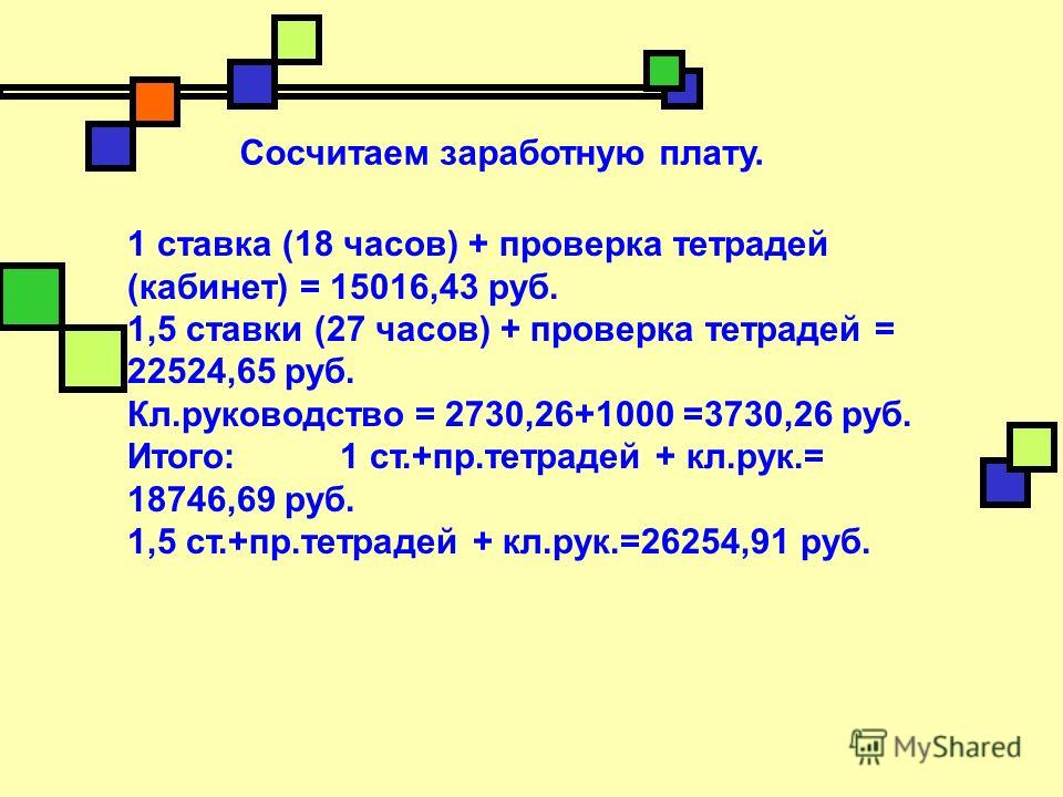Сосчитаем заработную плату. 1 ставка (18 часов) + проверка тетрадей (кабинет) = 15016,43 руб. 1,5 ставки (27 часов) + проверка тетрадей = 22524,65 руб. Кл.руководство = 2730,26+1000 =3730,26 руб. Итого: 1 ст.+пр.тетрадей + кл.рук.= 18746,69 руб. 1,5