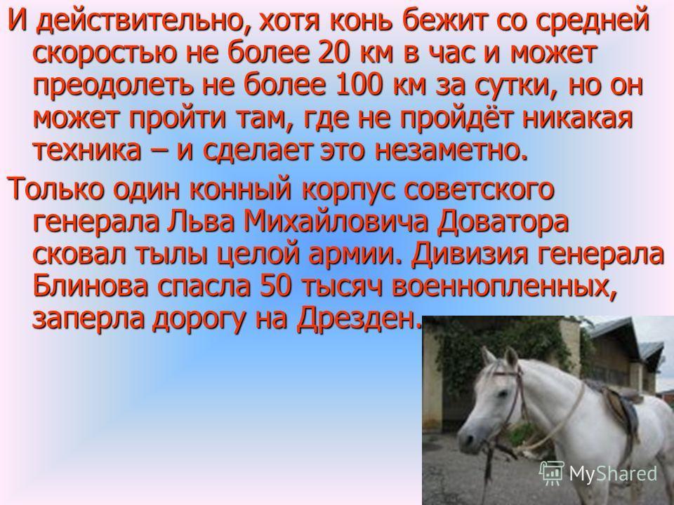 И действительно, хотя конь бежит со средней скоростью не более 20 км в час и может преодолеть не более 100 км за сутки, но он может пройти там, где не пройдёт никакая техника – и сделает это незаметно. Только один конный корпус советского генерала Ль