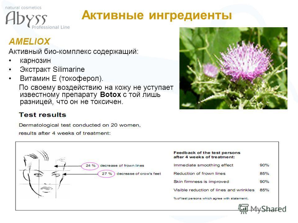 AMELIOX Активный био-комплекс содержащий: карнозин Экстракт Silimarine Витамин Ε (токоферол). По своему воздействию на кожу не уступает известному препарату Botox с той лишь разницей, что он не токсичен. Активные ингредиенты