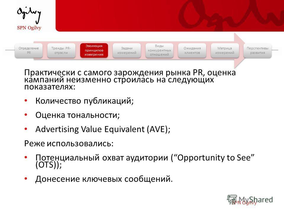 Практически с самого зарождения рынка PR, оценка кампаний неизменно строилась на следующих показателях: Количество публикаций; Оценка тональности; Advertising Value Equivalent (AVE); Реже использовались: Потенциальный охват аудитории (Opportunity to