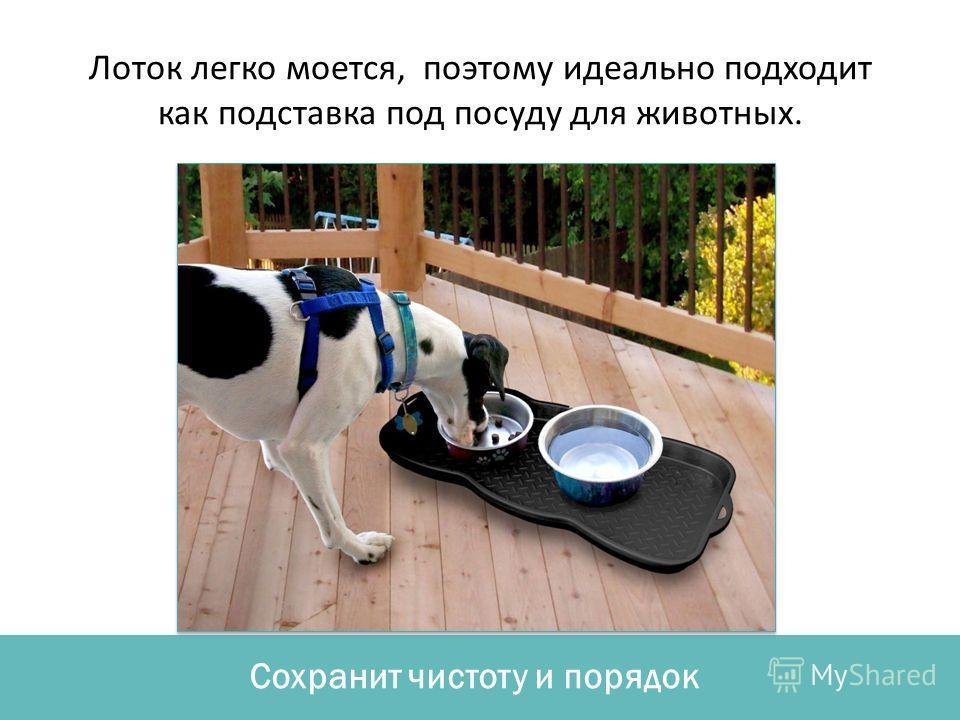 Сохранит чистоту и порядок Лоток легко моется, поэтому идеально подходит как подставка под посуду для животных.