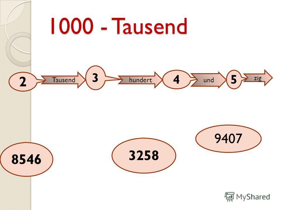 1000 - Tausend 2 Tausend 3 hundert 4 und 5 zig 8546 3258 9407