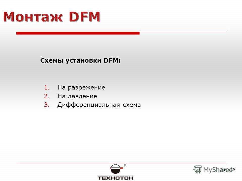 Схемы установки DFM: 1.На разрежение 2.На давление 3.Дифференциальная схема 7 из 46