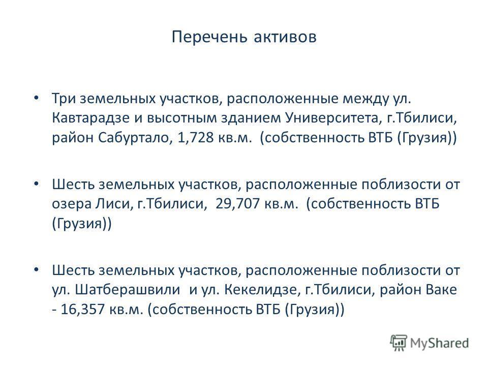 Перечень активов Три земельных участков, расположенные между ул. Кавтарадзе и высотным зданием Университета, г.Тбилиси, район Сабуртало, 1,728 кв.м. (собственность ВТБ (Грузия)) Шесть земельных участков, расположенные поблизости от озера Лиси, г.Тбил