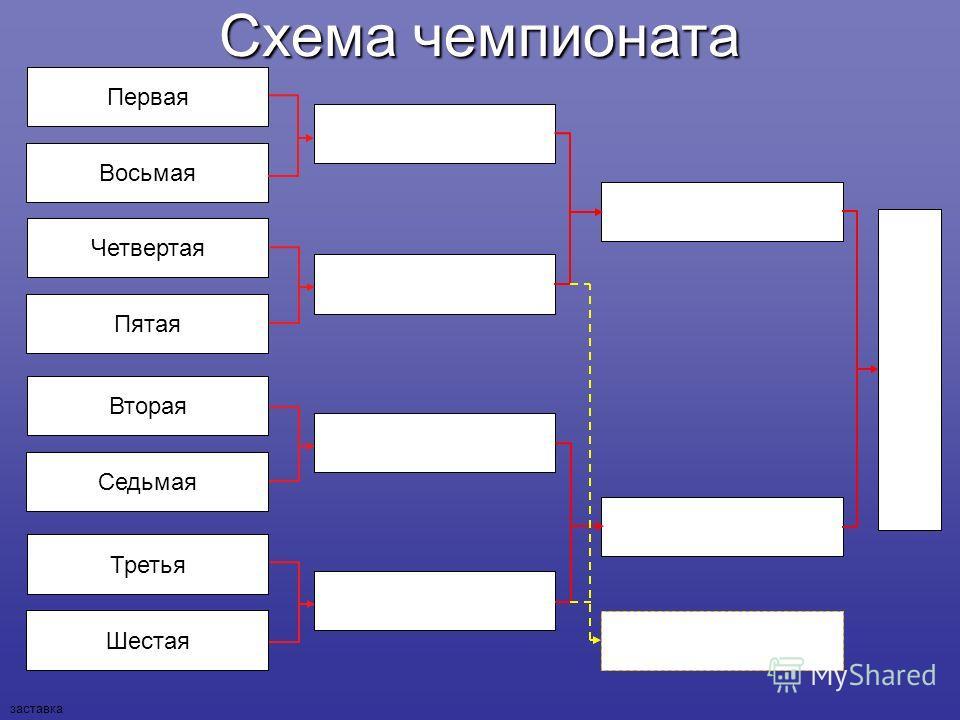 Схема чемпионата Шестая Седьмая Пятая Восьмая Третья Вторая Четвертая Первая заставка