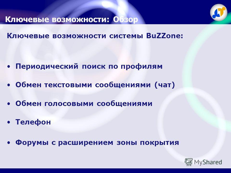 Ключевые возможности: Обзор Ключевые возможности системы BuZZone: Периодический поиск по профилям Обмен текстовыми сообщениями (чат) Обмен голосовыми сообщениями Телефон Форумы с расширением зоны покрытия