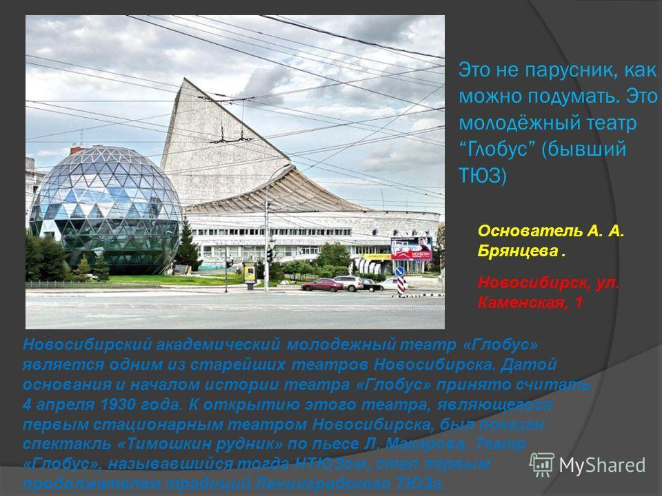 Это не парусник, как можно подумать. Это молодёжный театр Глобус (бывший ТЮЗ) Новосибирский академический молодежный театр «Глобус» является одним из старейших театров Новосибирска. Датой основания и началом истории театра «Глобус» принято считать 4