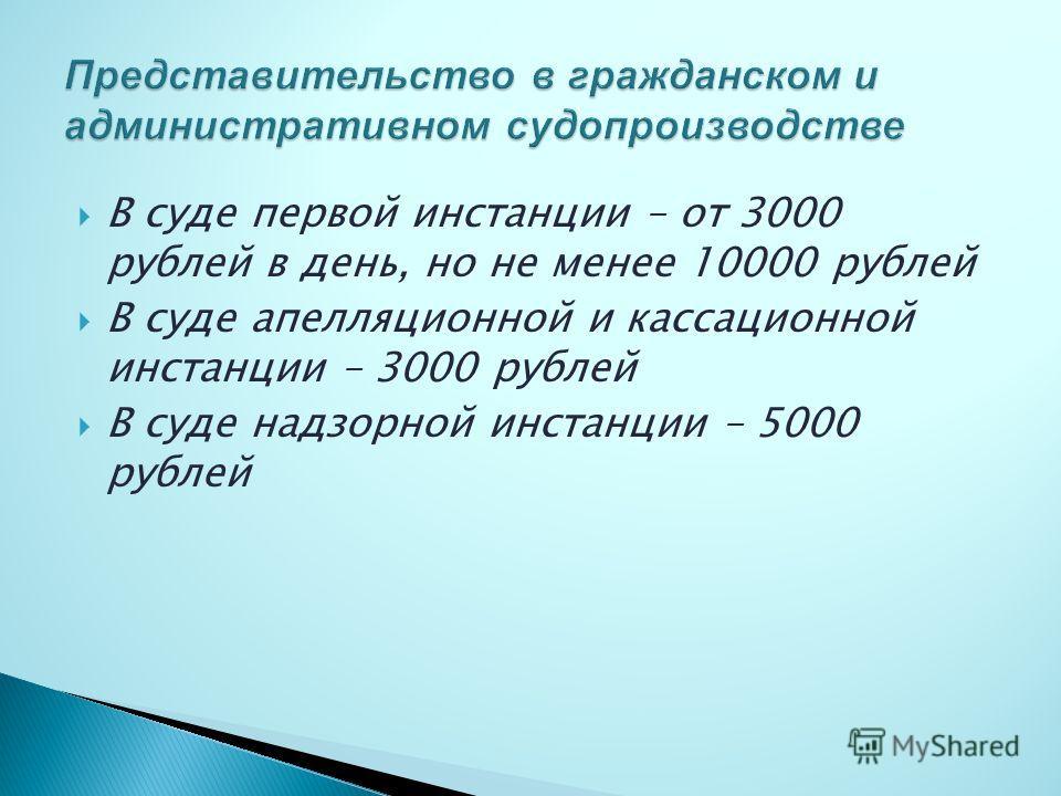 В суде первой инстанции – от 3000 рублей в день, но не менее 10000 рублей В суде апелляционной и кассационной инстанции – 3000 рублей В суде надзорной инстанции – 5000 рублей