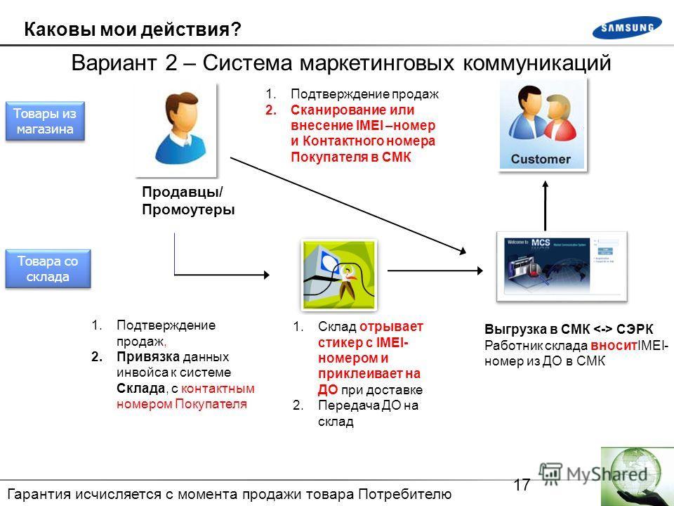 17 Каковы мои действия? Вариант 2 – Система маркетинговых коммуникаций 1.Склад отрывает стикер с IMEI- номером и приклеивает на ДО при доставке 2.Передача ДО на склад Продавцы/ Промоутеры 1.Подтверждение продаж, 2.Привязка данных инвойса к системе Ск