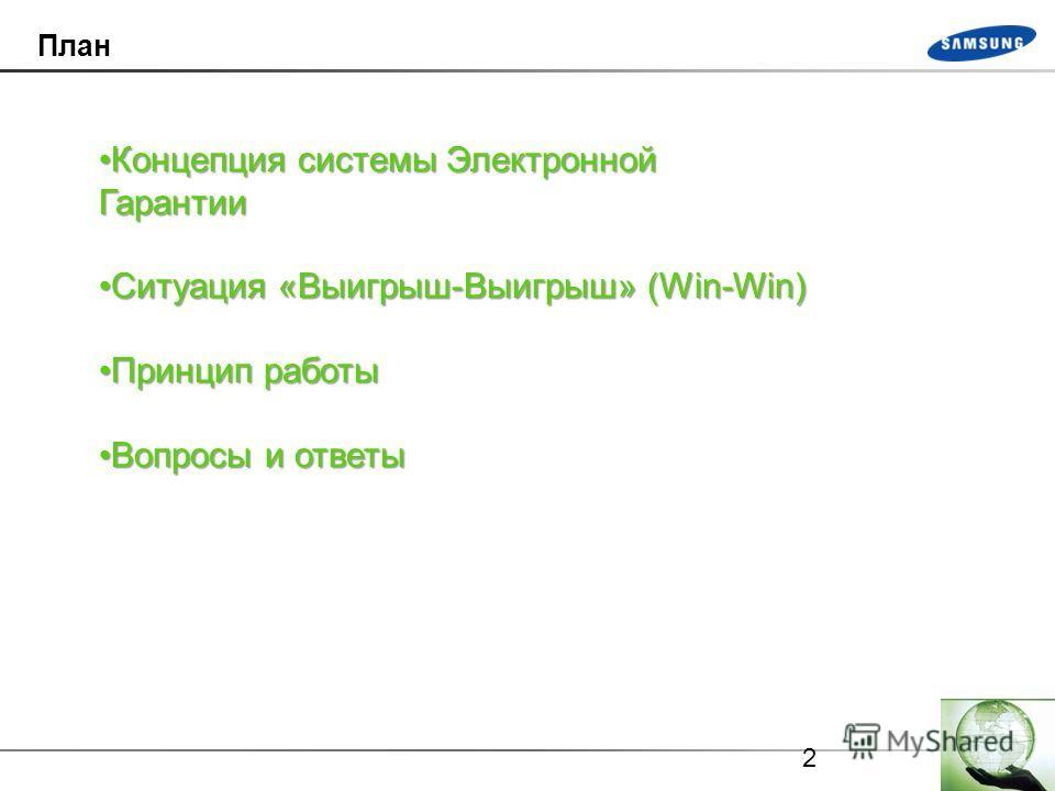 2 План Концепция системы Электронной ГарантииКонцепция системы Электронной Гарантии Ситуация «Выигрыш-Выигрыш» (Win-Win)Ситуация «Выигрыш-Выигрыш» (Win-Win) Принцип работыПринцип работы Вопросы и ответыВопросы и ответы