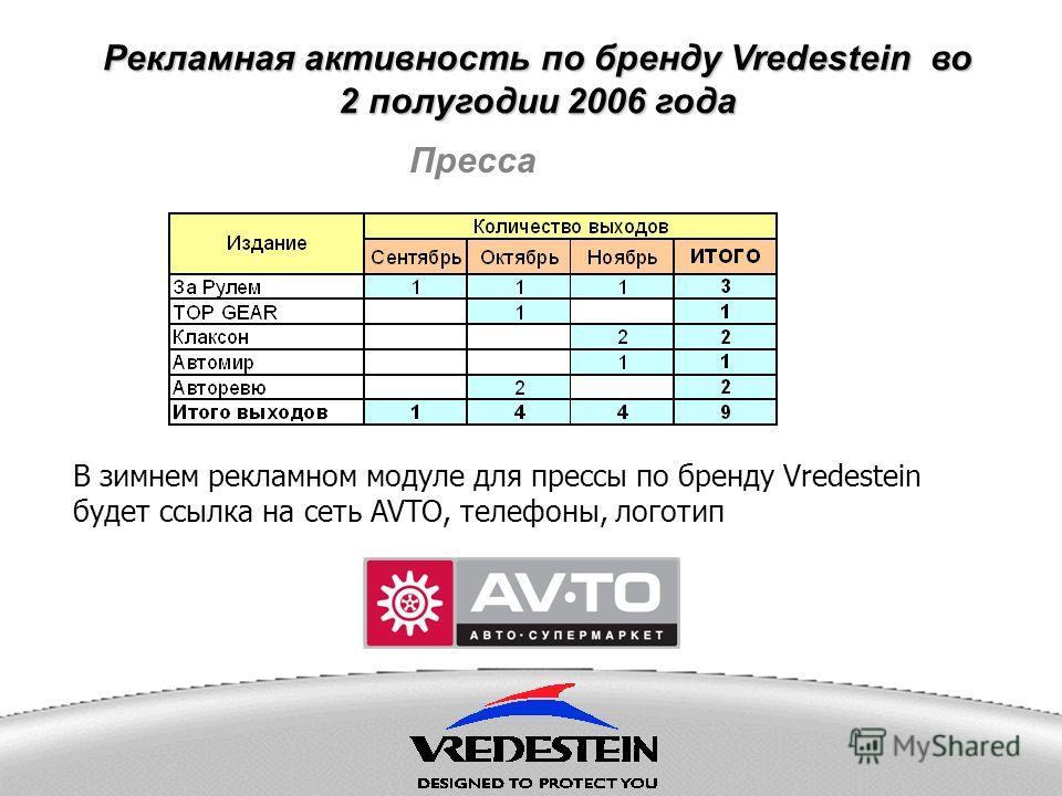Рекламная активность по бренду Vredestein во 2 полугодии 2006 года Пресса В зимнем рекламном модуле для прессы по бренду Vredestein будет ссылка на сеть AVTO, телефоны, логотип