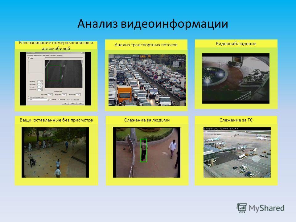 Распознавание номерных знаков и автомобилей Анализ транспортных потоков Видеонаблюдение Вещи, оставленные без присмотраСлежение за людьмиСлежение за ТС Анализ видеоинформации