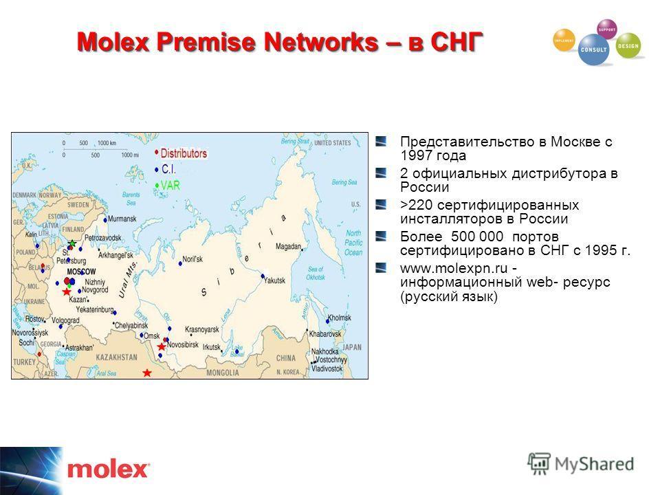 Molex Premise Networks – в СНГ Представительство в Москве с 1997 года 2 официальных дистрибутора в России >220 сертифицированных инсталляторов в России Более 500 000 портов сертифицировано в СНГ с 1995 г. www.molexpn.ru - информационный web- ресурс (