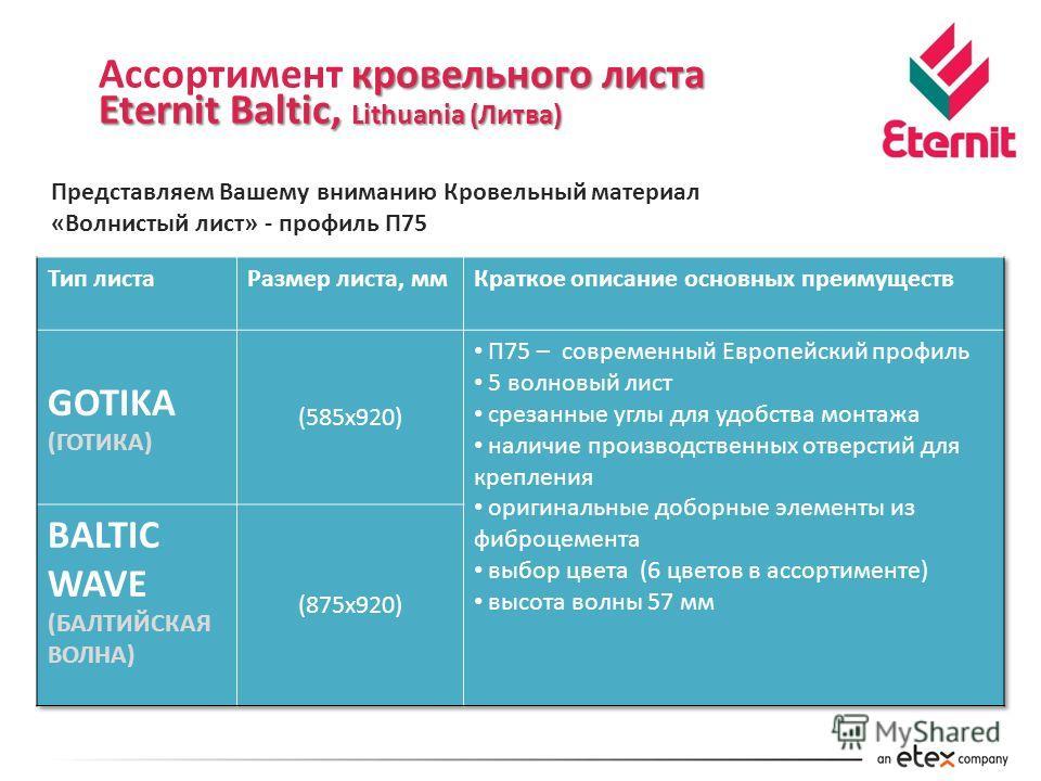 кровельного листа Ассортимент кровельного листа Eternit Baltic, Lithuania (Литва) Представляем Вашему вниманию Кровельный материал «Волнистый лист» - профиль П75