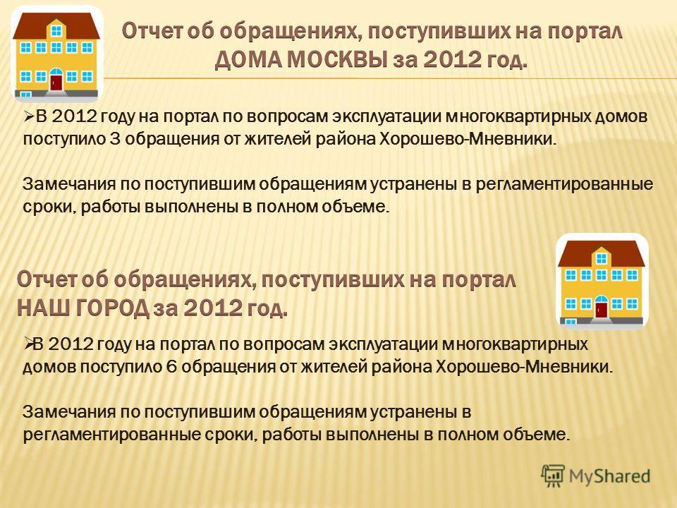 В 2012 году на портал по вопросам эксплуатации многоквартирных домов поступило 3 обращения от жителей района Хорошево-Мневники. Замечания по поступившим обращениям устранены в регламентированные сроки, работы выполнены в полном объеме. В 2012 году на