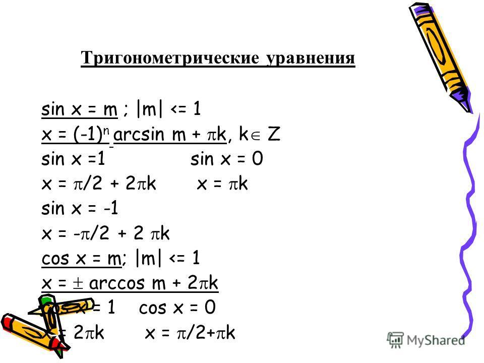 Тригонометрические уравнения sin x = m ; |m|