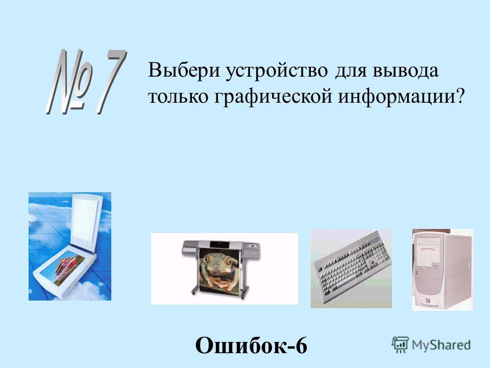 Выбери устройство для вывода только графической информации? Ошибок-6