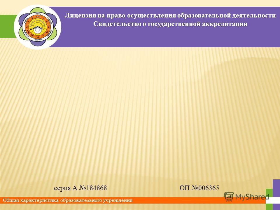 Лицензия на право осуществления образовательной деятельности Свидетельство о государственной аккредитации Общая характеристика образовательного учреждения серия А 184868ОП 006365