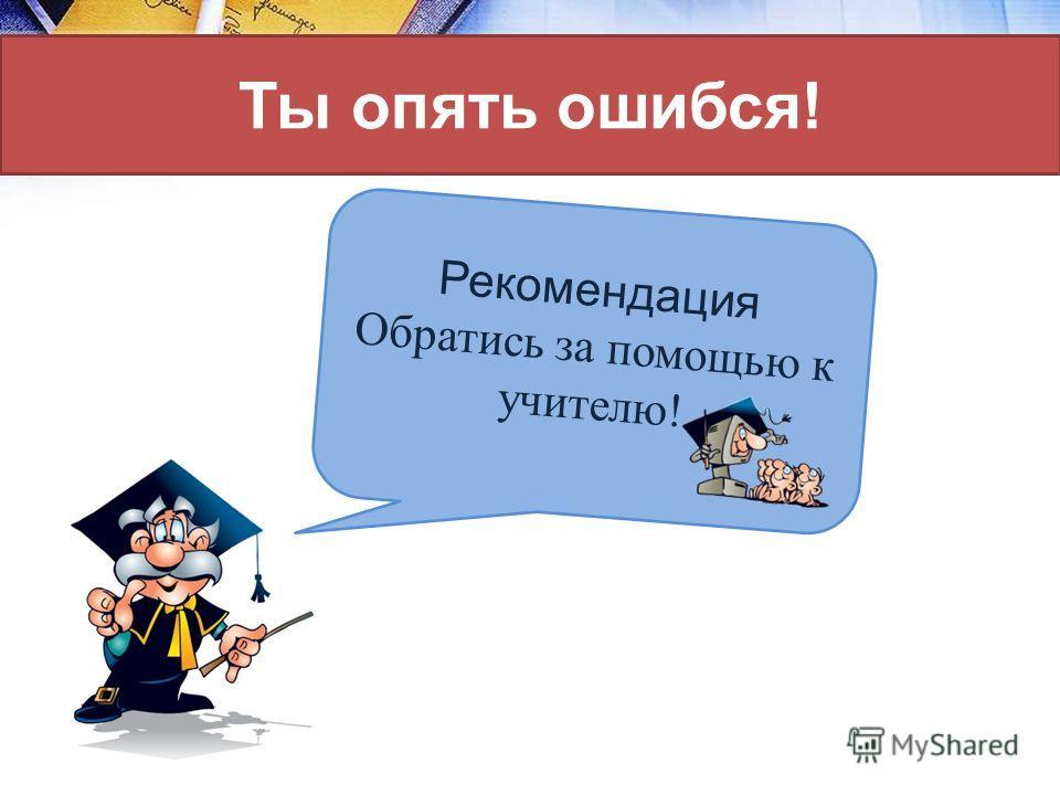 Ты опять ошибся! Рекомендация Обратись за помощью к учителю!