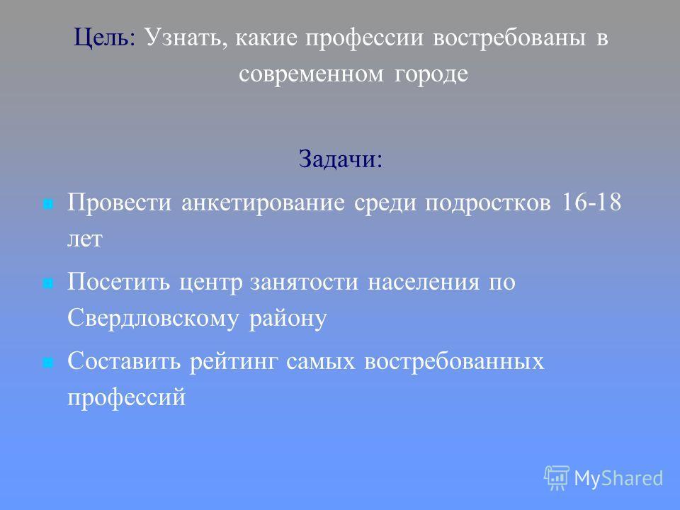 Цель: Узнать, какие профессии востребованы в современном городе Задачи: Провести анкетирование среди подростков 16-18 лет Посетить центр занятости населения по Свердловскому району Составить рейтинг самых востребованных профессий