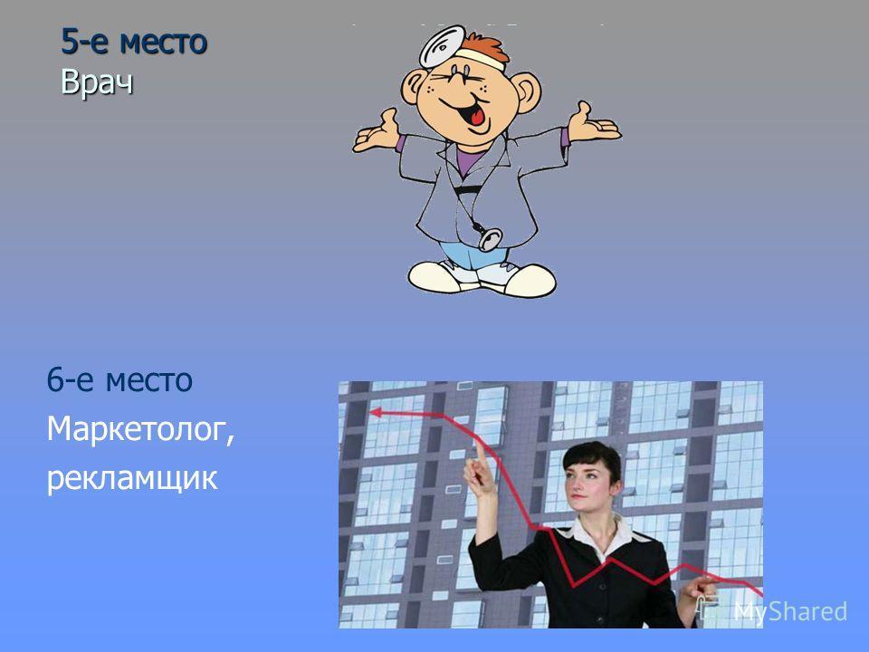 5-е место Врач 6-е место Маркетолог, рекламщик