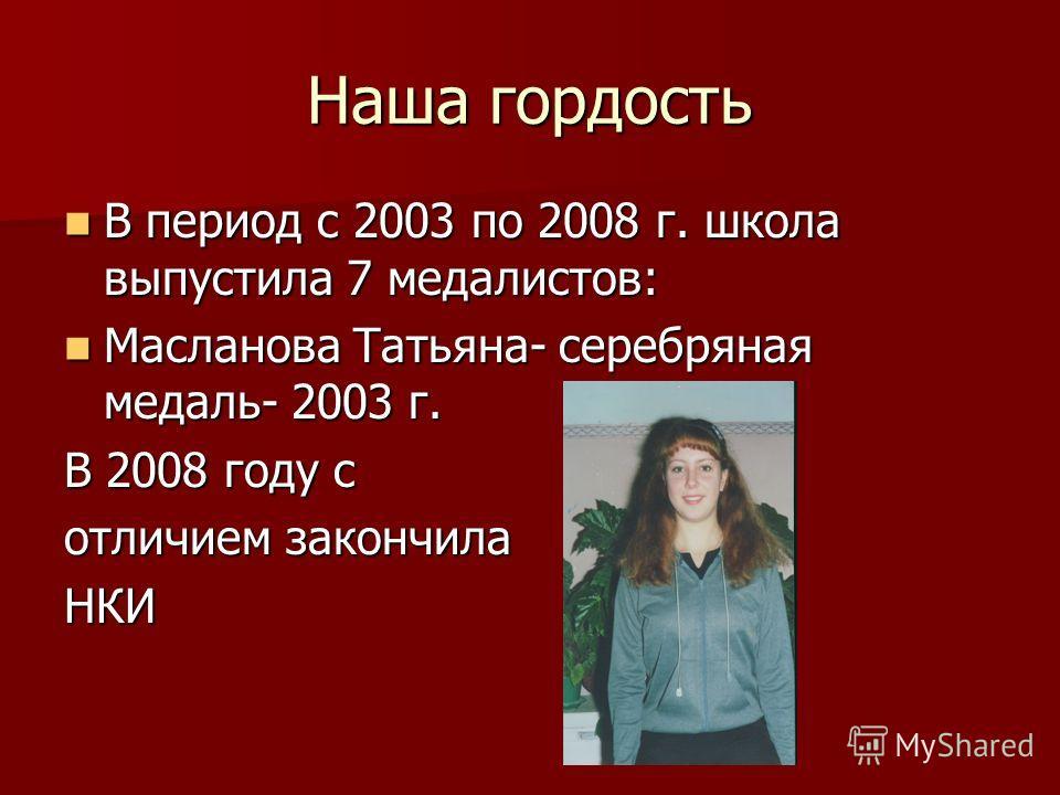 Наша гордость В период с 2003 по 2008 г. школа выпустила 7 медалистов: В период с 2003 по 2008 г. школа выпустила 7 медалистов: Масланова Татьяна- серебряная медаль- 2003 г. Масланова Татьяна- серебряная медаль- 2003 г. В 2008 году с отличием закончи