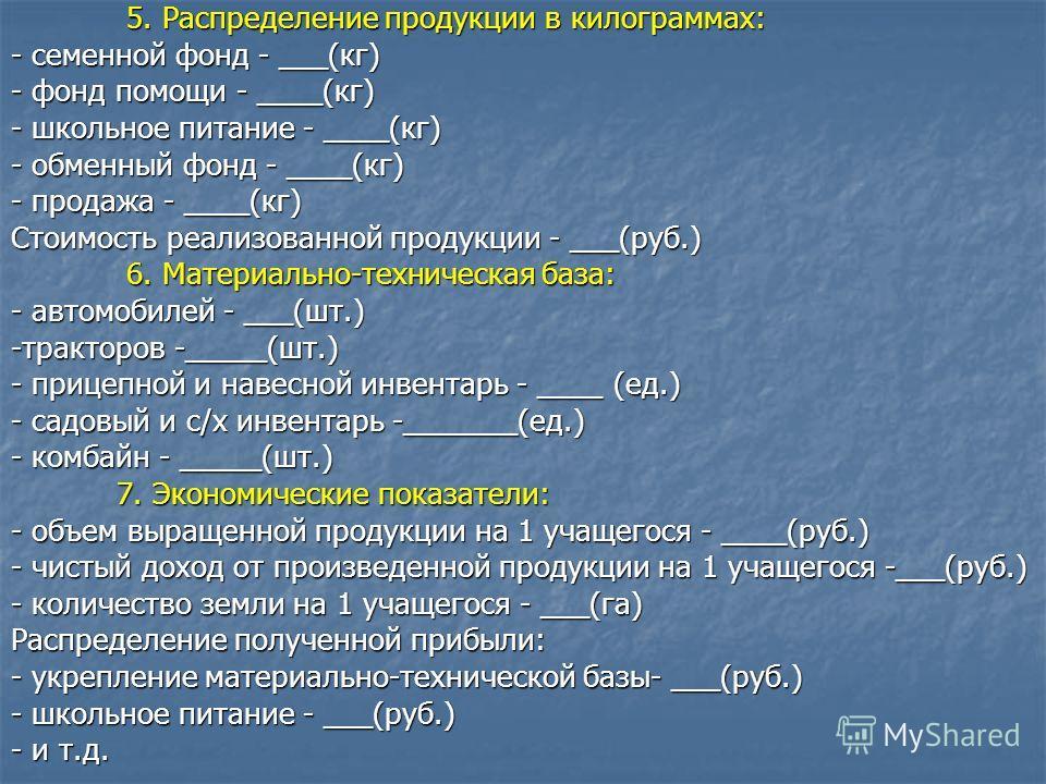5. Распределение продукции в килограммах: 5. Распределение продукции в килограммах: - семенной фонд - ___(кг) - фонд помощи - ____(кг) - школьное питание - ____(кг) - обменный фонд - ____(кг) - продажа - ____(кг) Стоимость реализованной продукции - _