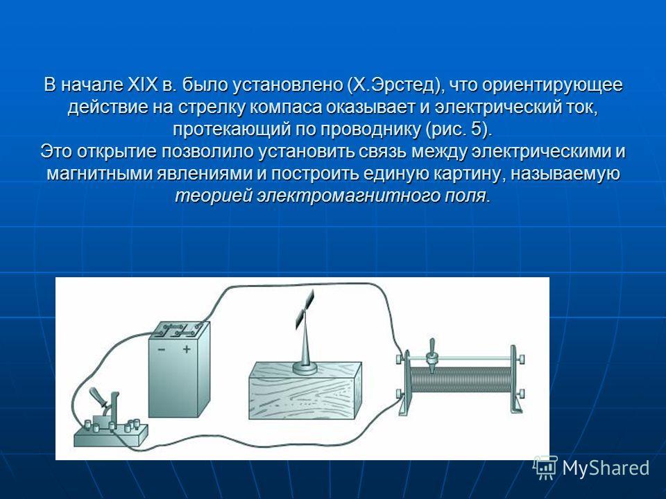 В начале XIX в. было установлено (Х.Эрстед), что ориентирующее действие на стрелку компаса оказывает и электрический ток, протекающий по проводнику (рис. 5). Это открытие позволило установить связь между электрическими и магнитными явлениями и постро
