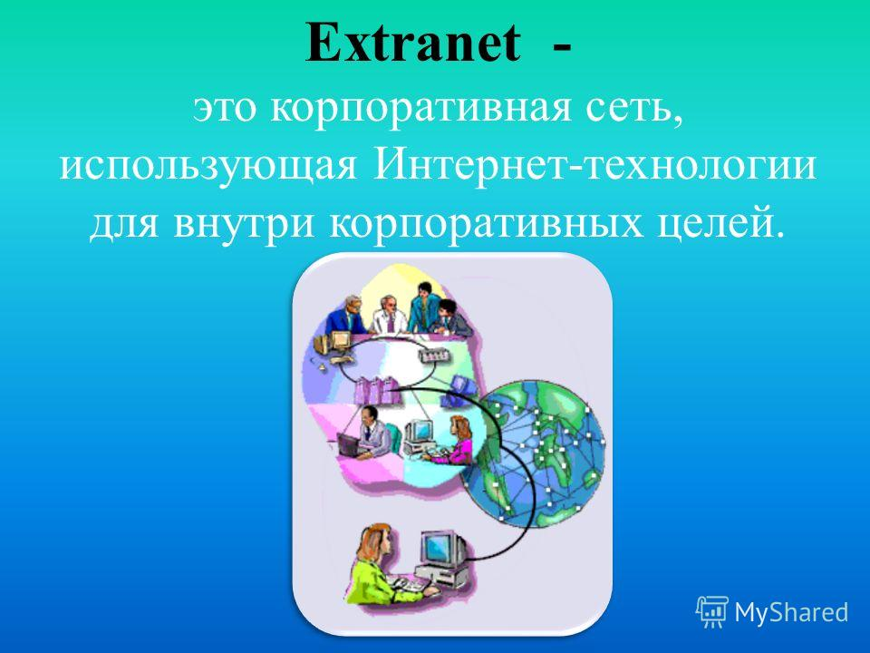 Extranet - это корпоративная сеть, использующая Интернет-технологии для внутри корпоративных целей.
