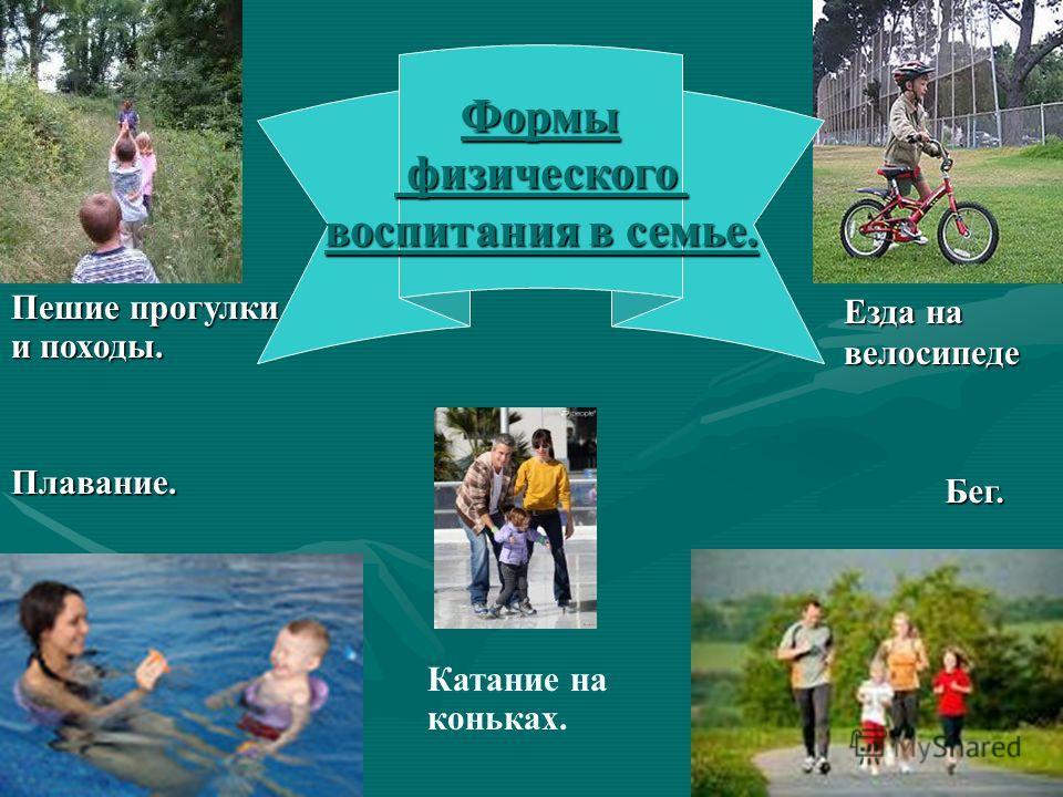 Пешие прогулки и походы. Плавание. Катание на коньках. Езда на велосипеде Бег. Формы физического физического воспитания в семье.