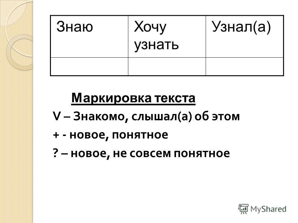 Маркировка текста V – Знакомо, слышал ( а ) об этом + - новое, понятное ? – новое, не совсем понятное ЗнаюХочу узнать Узнал(а)
