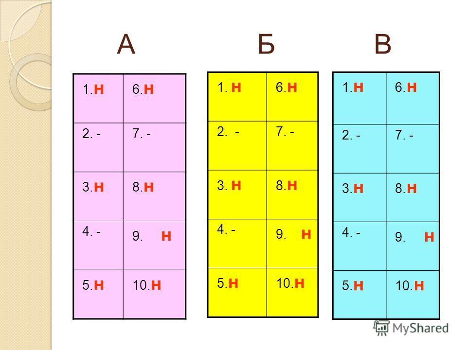 А Б В 1. н 6. н 2. -7. - 3. н 8. н 4. - 9. н 5. н 10. н 1. н 6. н 2. -7. - 3. н 8. н 4. - 9. н 5. н 10. н 1. н 6. н 2. -7. - 3. н 8. н 4. - 9. н 5. н 10. н