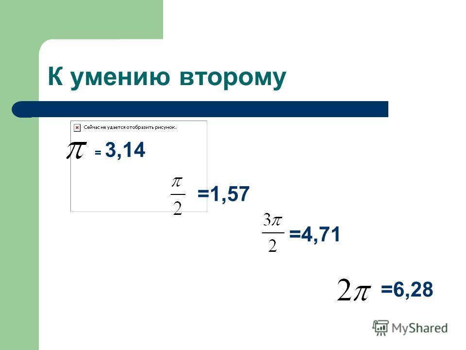 К умению второму = 3,14 =1,57 =4,71 =6,28