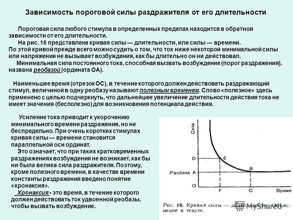 Зависимость пороговой силы раздражителя от его длительности Пороговая сила любого стимула в определенных пределах находится в обратной зависимости от его длительности. На рис. 16 представлена кривая силы длительности, или силы времени. По этой кривой