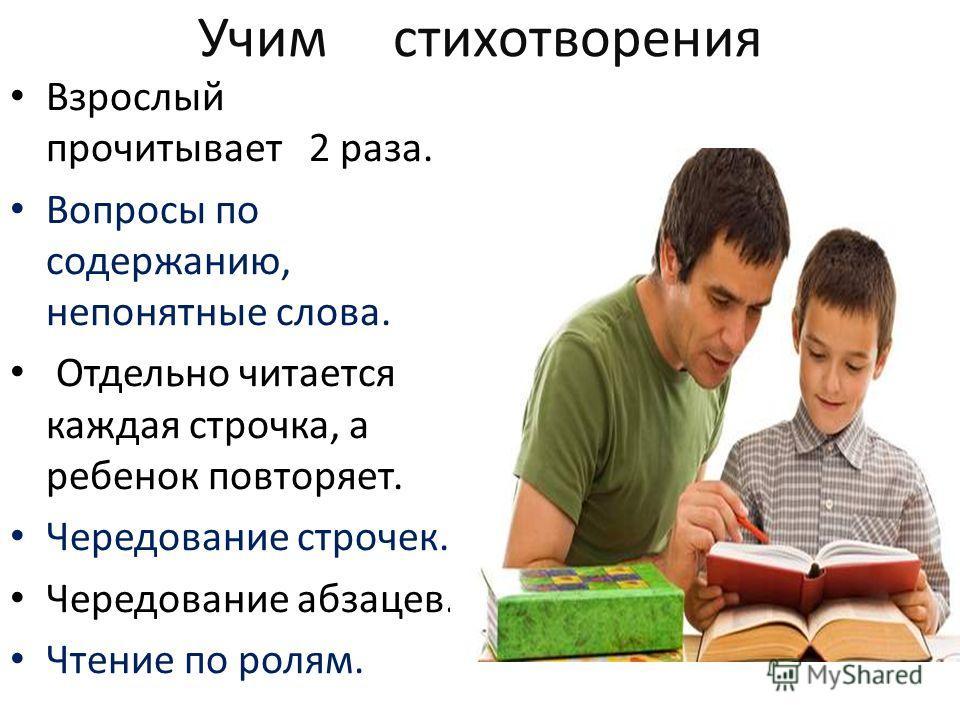 Учим стихотворения Взрослый прочитывает 2 раза. Вопросы по содержанию, непонятные слова. Отдельно читается каждая строчка, а ребенок повторяет. Чередование строчек. Чередование абзацев. Чтение по ролям.