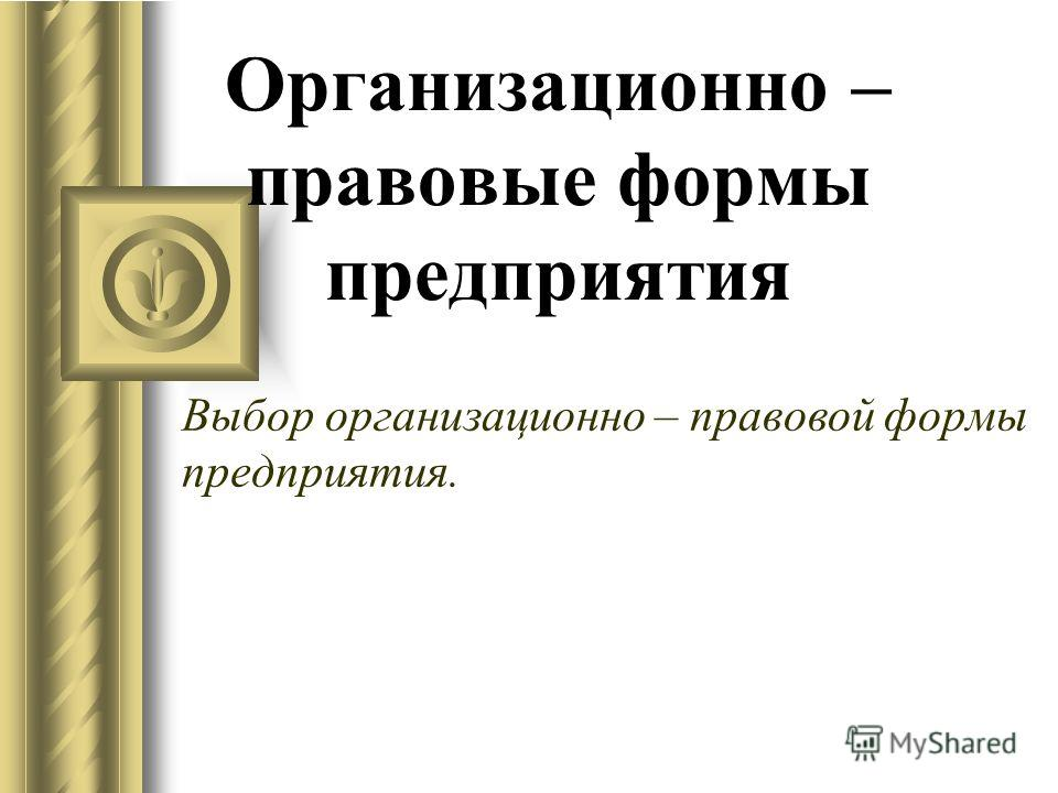 Организационно – правовые формы предприятия Выбор организационно – правовой формы предприятия.