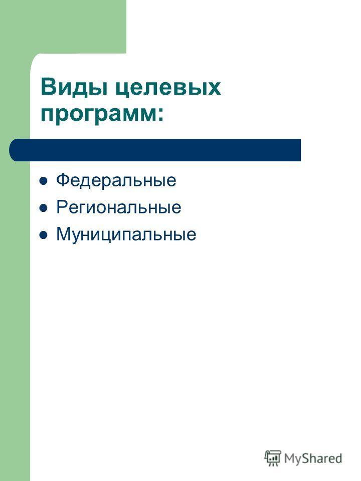 Виды целевых программ: Федеральные Региональные Муниципальные