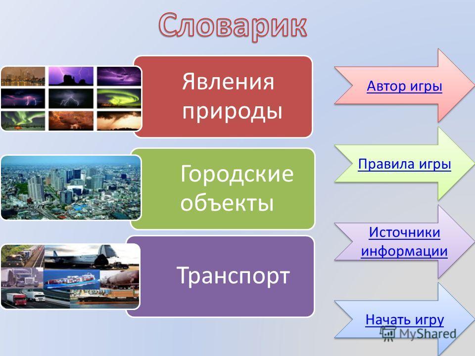 Явления природы Городские объекты Транспорт Автор игры Источники информации Источники информации Правила игры Начать игру