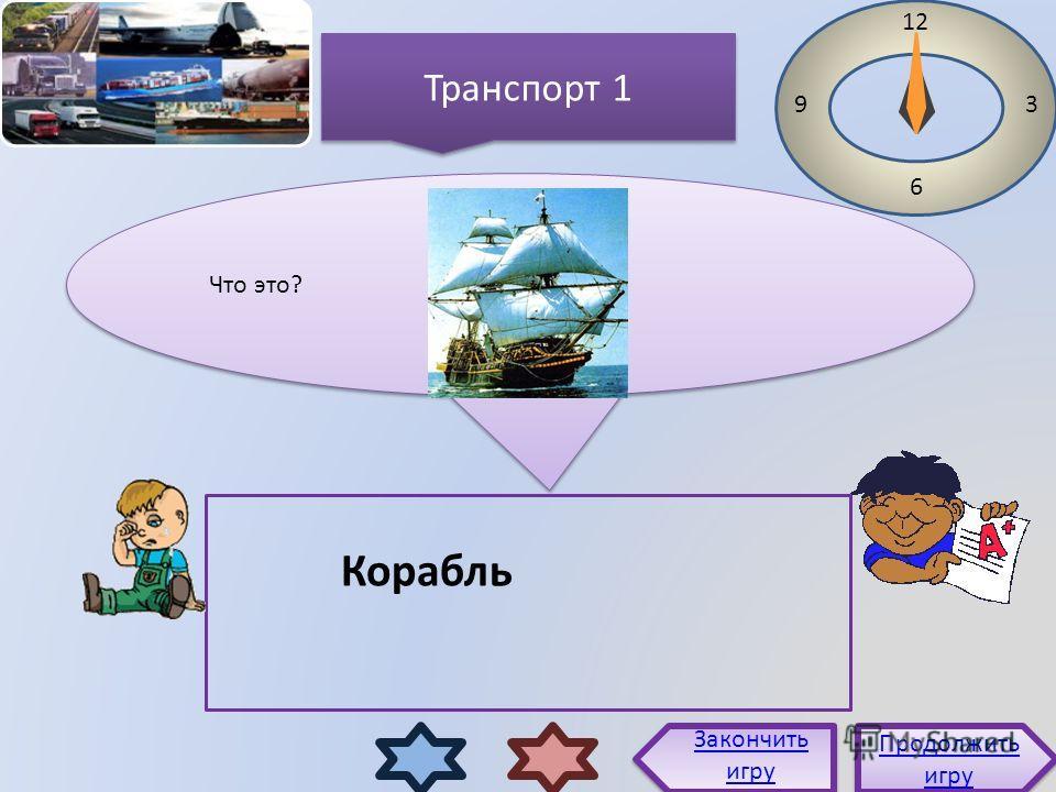 Транспорт 1 Что это? Продолжить игру Продолжить игру Закончить игру 12 3 6 9 Корабль