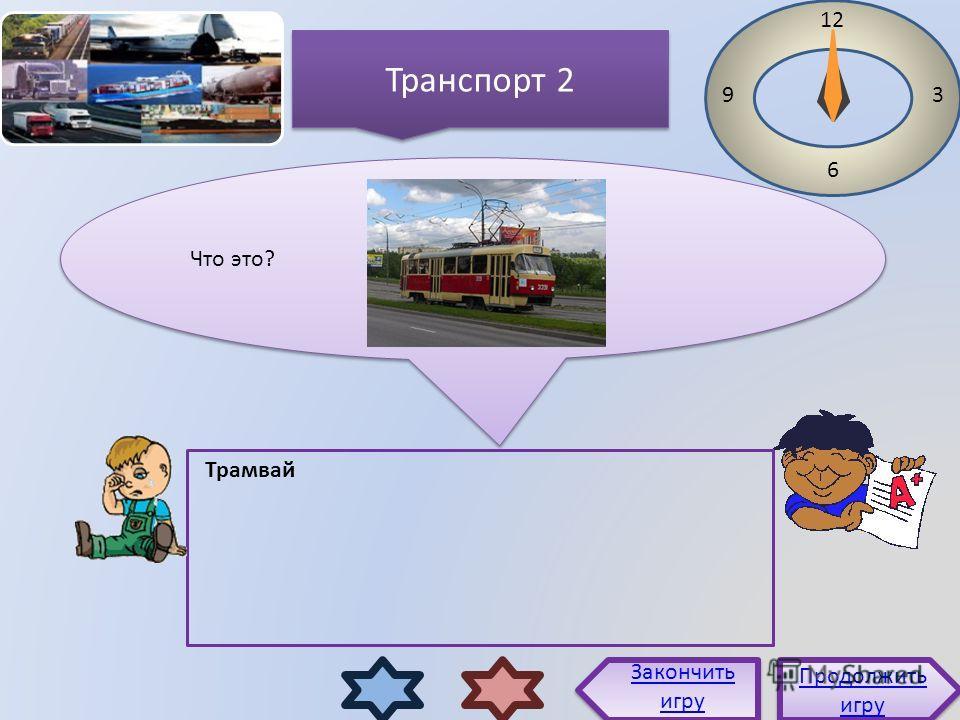 Что это? 12 3 6 9 Трамвай Продолжить игру Продолжить игру Закончить игру Транспорт 2