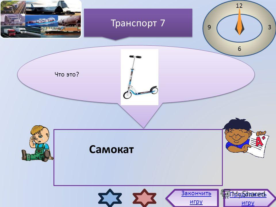 Что это? 12 3 6 9 Самокат Продолжить игру Продолжить игру Закончить игру Транспорт 7