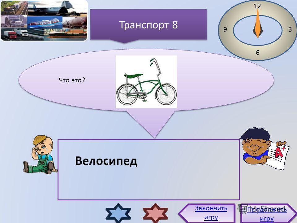 Что это? 12 3 6 9 Велосипед Продолжить игру Продолжить игру Закончить игру Транспорт 8